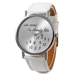 Reloj Who cares i'm late blanco