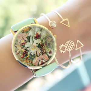 Reloj mujer flores turquesa