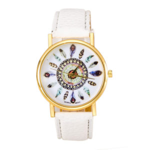 Reloj pluma cuero blanco 2018