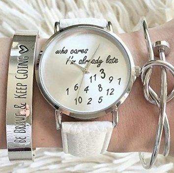 Reloj tendencia 2018 cuero blanco